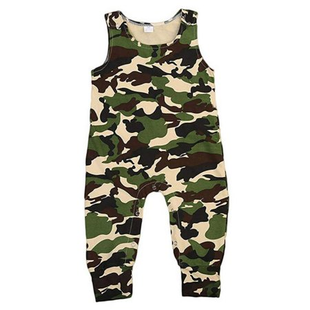 Unisex Baby Boy Girl Sleeveless Camouflage Long Pant Romper Summer One Piece Jumpsuit