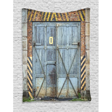 Industrial Decor Wall Hanging Tapestry, Old Aged Wooden Factory Gate With Warning Signs Industrial Change For Modern Techno Theme, Bedroom Living Room Dorm Accessories, By Ambesonne](Halloween Theme Techno Remix Mp3)