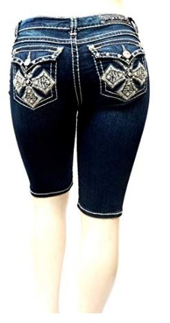 LA Idol Premium Women/'s Missy Plus Size Blue Stretch Denim Jeans Short Bermuda