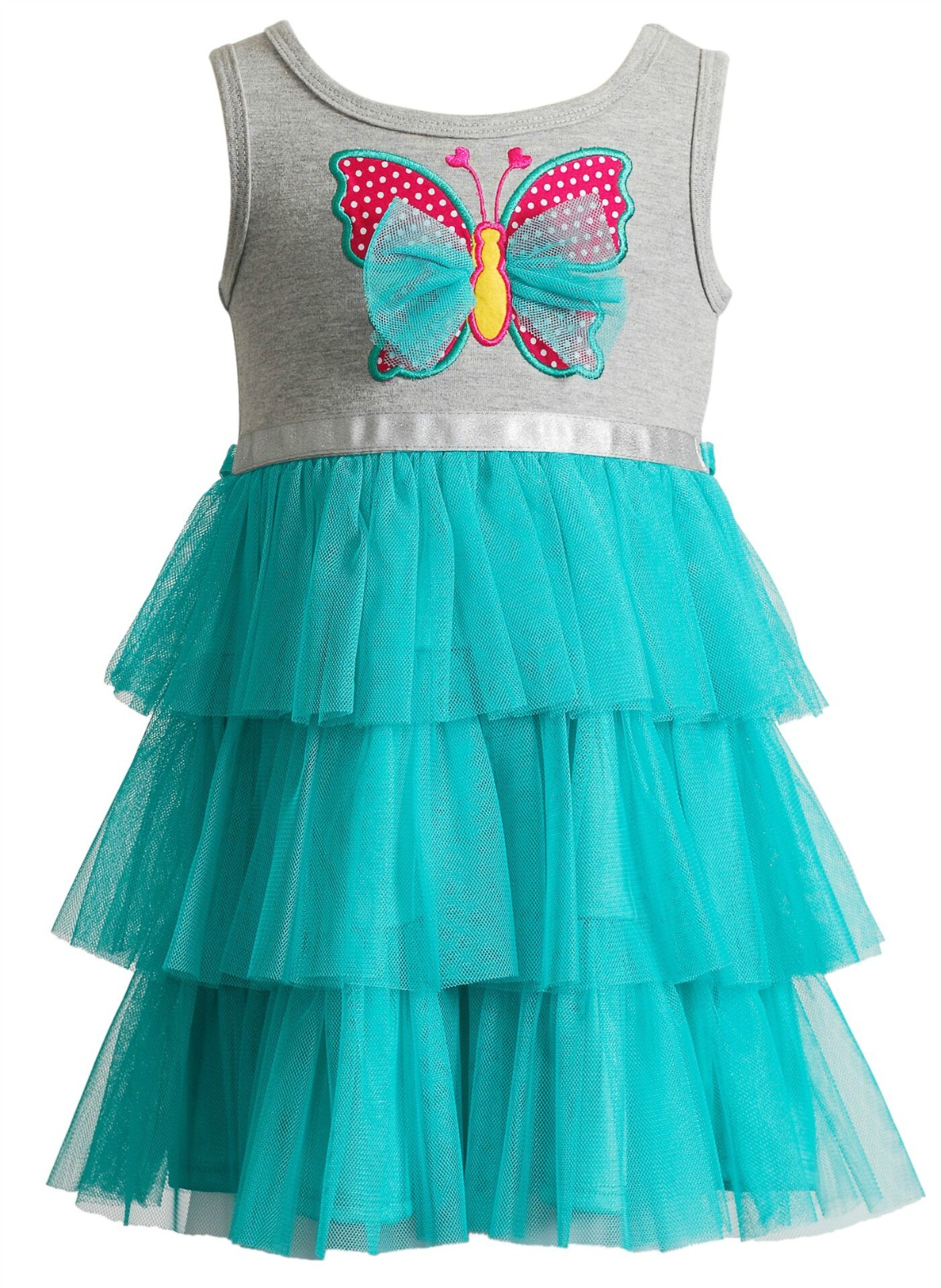 Youngland Infant Girls Gray Butterfly Tutu Dress 18 months