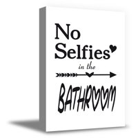 Awkward Styles No Selfies in the Bathroom Canvas Print Art Decals Printed Wall Art for Home Bathroom Framed Art No Selfies in the Bathroom Ready to Hang Picture Bath Decor Funny Bath Accessories