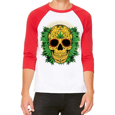 Unisex 420 Yellow Weed Sugar Skull White/Red C5 3/4 Sleeve Baseball T-Shirt X-Large
