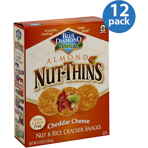 Blue Diamond Natural Almond Nut-Thins Cheddar Cheese Nut & Rice Cracker Snacks, 4.25 oz, (Pack of 12)