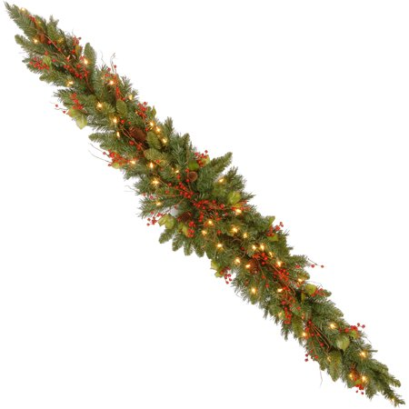 National Tree 6' Classical Collection Mantel Swag with Red Berries, Cones, Holly Leaves and 50 Clear Lights (Halloween Mantel Decor)