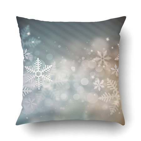 BOSDECO Xmas Beautiful Snowflake Christmas Glitter Shine Snowflake Pillow Case Cushion Cover Case Throw Pillow Case 20x20 inches - image 1 de 1