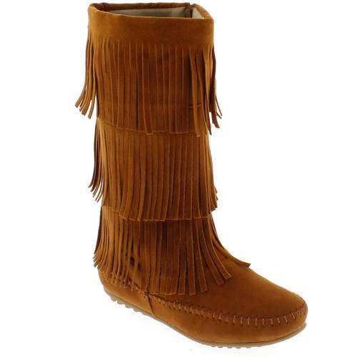 Shoes of Soul Women's 3 Tier Fringe Boot