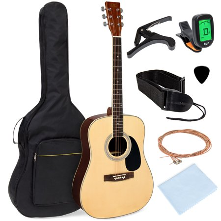 Best Choice Products 41in Full Size All-Wood Acoustic Guitar Starter Kit w/ Foam Padded Gig Bag, E-Tuner, Pick, (Best Mid Range Acoustic Guitar)