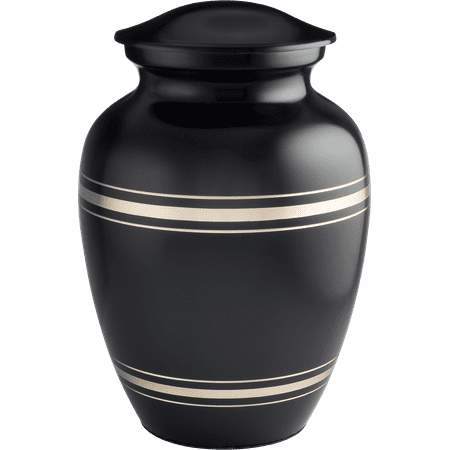 Cremation Keepsake - UrnConcern Cremation Urn Classic Black And Gold Brass | Available In 4 Sizes | A Beautiful Cremation Urn And A Great Value | 3