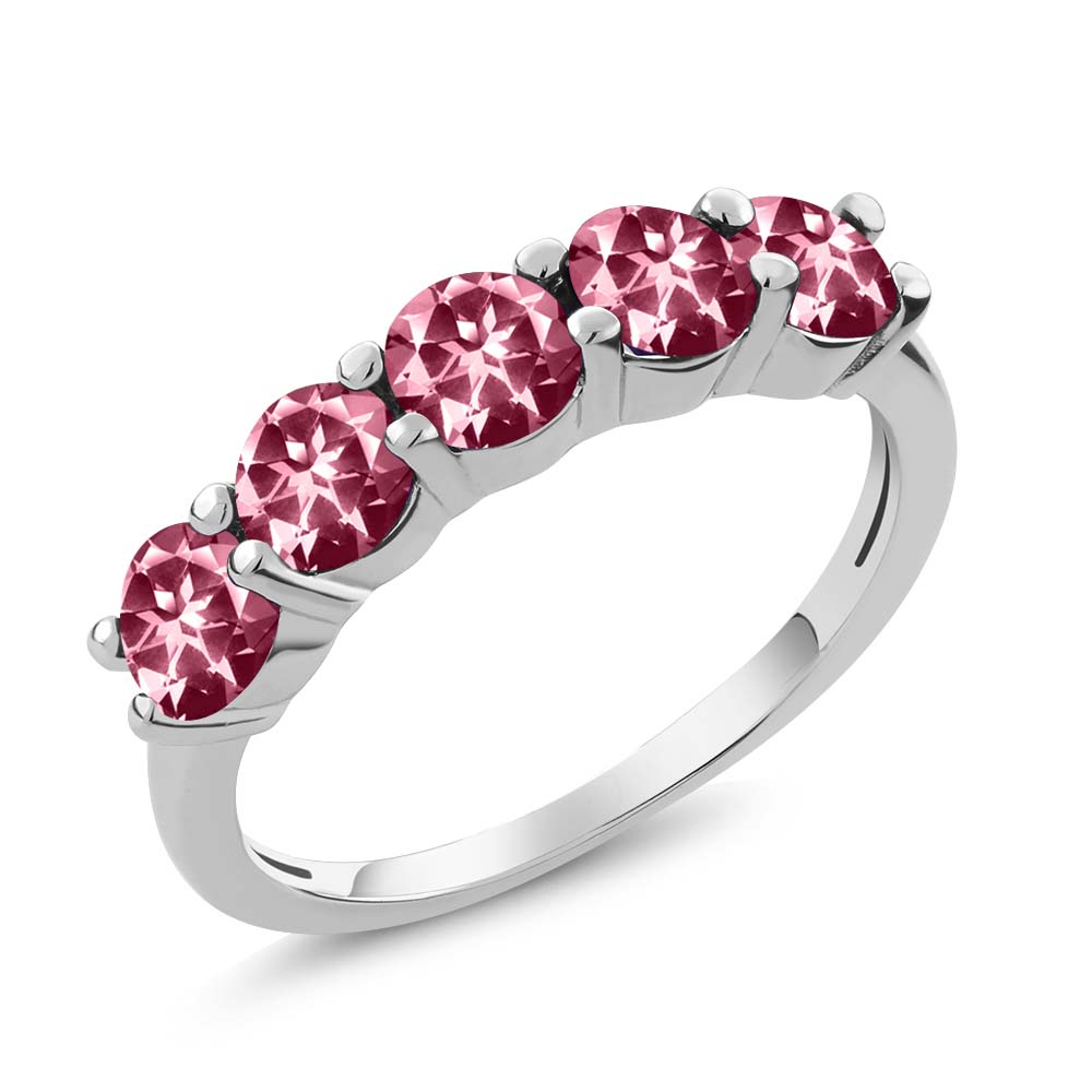 925 Sterling Silver Ring Set with Round Pink Topaz from Swarovski by