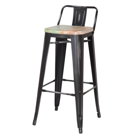 Astonishing Joveco 30 Inches Distressed Metal Bar Stool With Low Back Machost Co Dining Chair Design Ideas Machostcouk