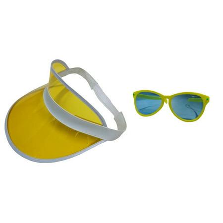 Yellow Clear Visor Goofy Jumbo Sunglasses Fun Clown Beach Hat Costume Accessory