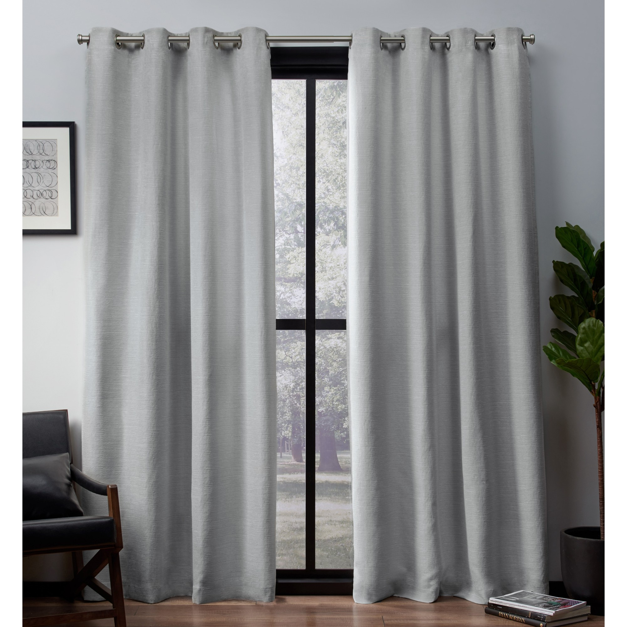 Exclusive Home Leeds Textured Slub Woven Blackout Window Curtain Panel Pair with Grommet Top