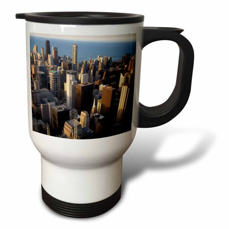 3dRose Lake Michigan waterfront, Chicago, Illinois - US14 DFR0137 - David R. Frazier, Travel Mug, 14oz, Stainless Steel