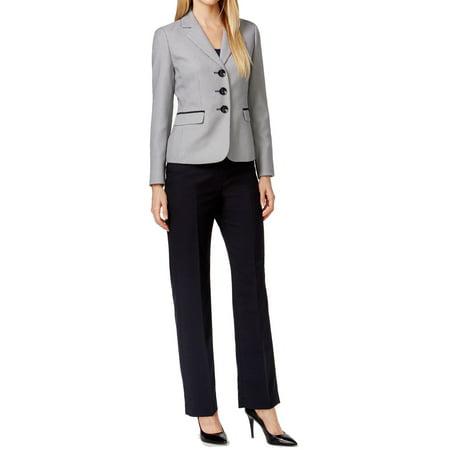 - Le Suit NEW Black Beige Womens Size 4 Three Button Pant Suit Set