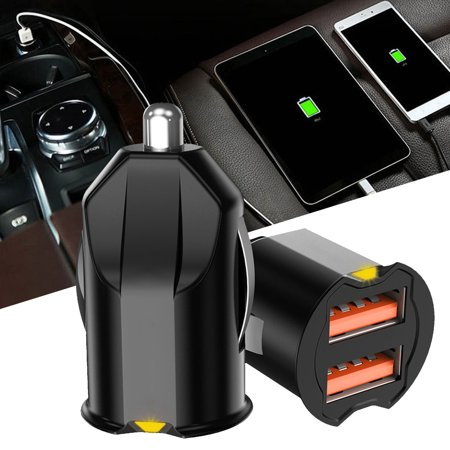 EEEkit Quick Charge Car Charger Mini 10.5W 2.1A Metal Dual USB Ports QC 3.0 Car Charger Adapter Flush Fit Fast Charge Car Adapter for Phone LG and More