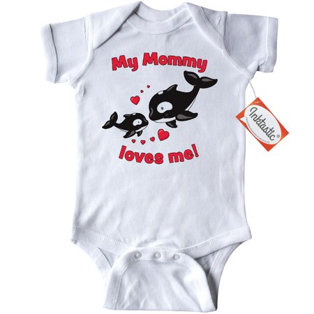 Inktastic My Mommy Loves Me- Orca Baby Infant Creeper Baby Bodysuit Family Sea Ocean Mom Mother Son Daughter Kid Firstborn New Whales Killer Seaworld Shamu Pod Cute Toddler Gift One-piece (Cute Mom And Baby Halloween Costume Ideas)