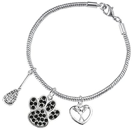 Lacrosse Jewelry, Black Crystal Paw Jewelry, ©2015 Hypoallergenic Safe-Nickel, Lead And Cadmium Free! Lacrosse Jewelry Black Crystal Paw Jewelry 2015