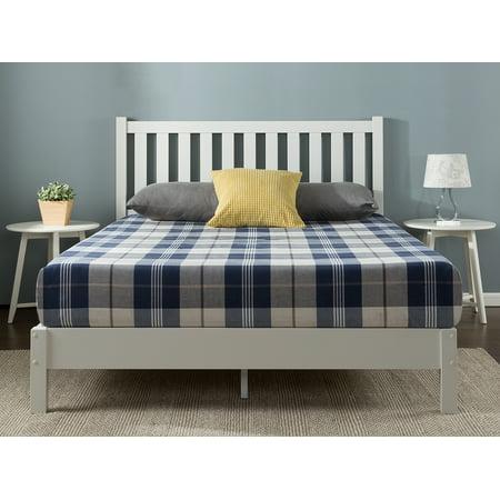 Zinus Wen Deluxe Wood Platform Bed with Slatted Headboard