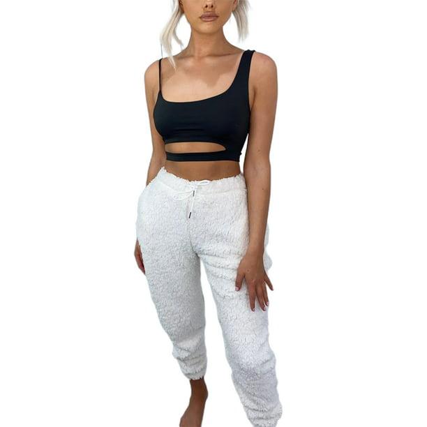 Womens Fleece Sweatpant Drawstring Sleepwear Bottoms Pajama Pants with Pockets
