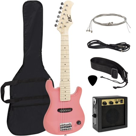 Best Choice Products 30in Kids 6-String Electric Guitar Beginner Starter Kit w/ 5W Amplifier, Strap, Case, Strings, Picks - Pink