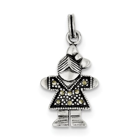 Sterling Silver Girl Charm QC4635 (28mm x 15mm) - image 1 de 2