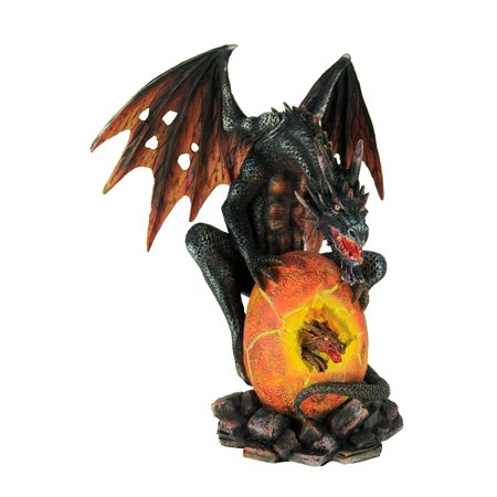 Black Dragon with Hatching Fire Egg Statue - image 3 of 3