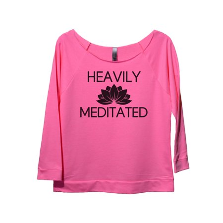 "Womens 3/4 Sleeve Raglan ""Heavily Meditated"" Yoga Sweater Gift- Funny Threadz Medium, Pink"