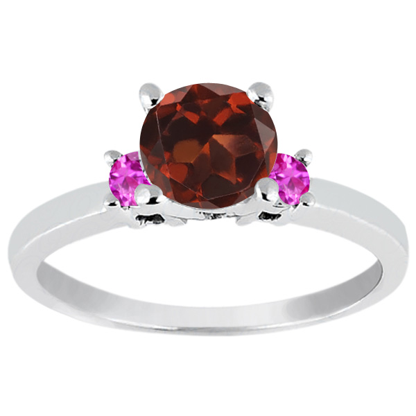 1.16 Ct Round Red Garnet Pink Sapphire 14K White Gold Engagement Ring by