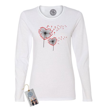 Valentines Day Heart Dandelion Shirt  Womens Long Sleeve T Shirt