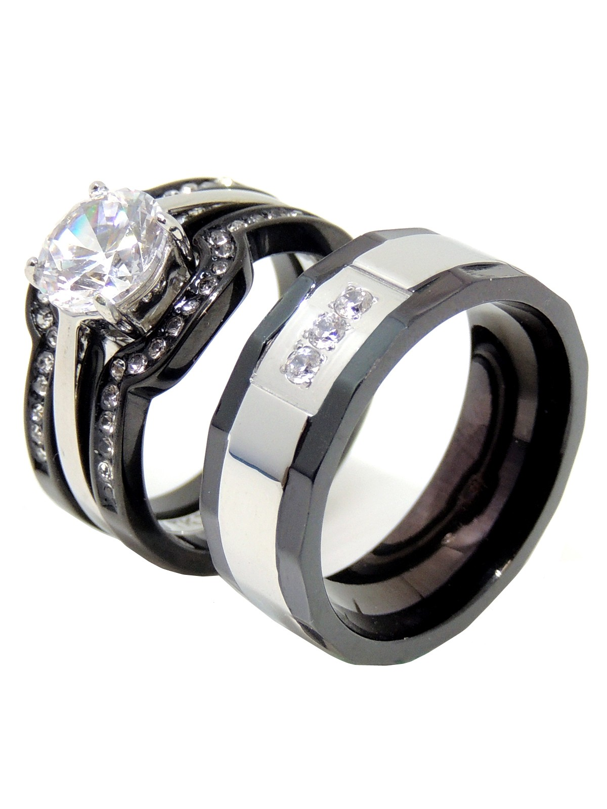 His Hers Couples Ring Set Womens Round CZ Promise Two Tone Ring Mens