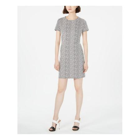 CALVIN KLEIN Womens Black Zippered Striped Short Sleeve Jewel Neck Mini Sheath Dress Size 14