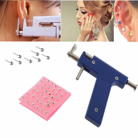 PRETTY SEE 2 Pcs Ear Piercing Gun Disposable Ear Stud Gun Sterile No Pain Portable Nose Piercing Gun Set,