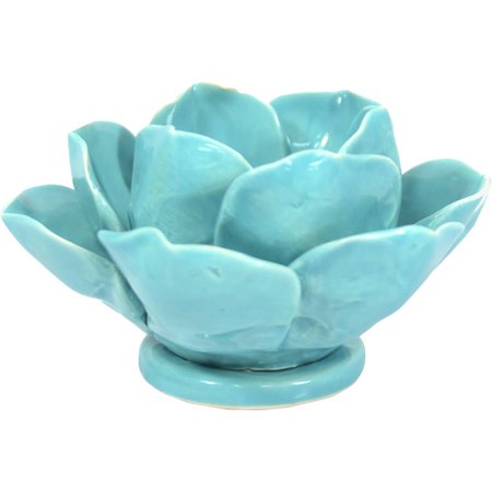 Better Homes And Gardens Lotus Flower Teal Candle Holder Walmart