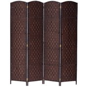 Legacy Decor 4 Panel Diamond Weave Fiber Room Divider, Brown Color