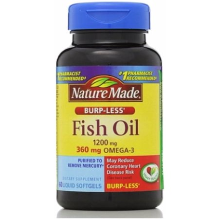 Nature Made Fish Oil, 1200 mg, Burp-Less, Liquid Softgels 60 ea (Pack of
