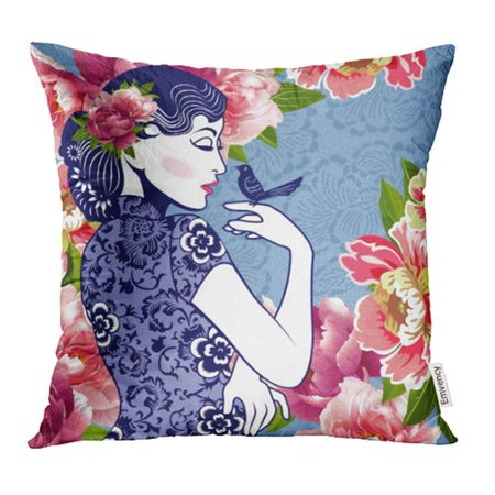 ARHOME Pink Oriental Blue White Chinese Lady Bird in Retro Style on Floral Japanese Pillowcase Cushion Cases 18x18 inch