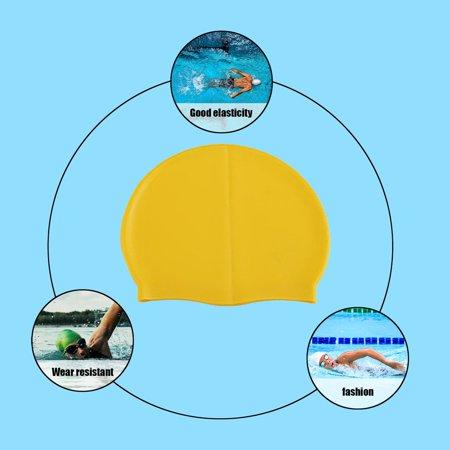 Silicone Waterproof Swimming Caps Protect Ears Long Hair Sports Swim Pool Hat - image 7 de 8