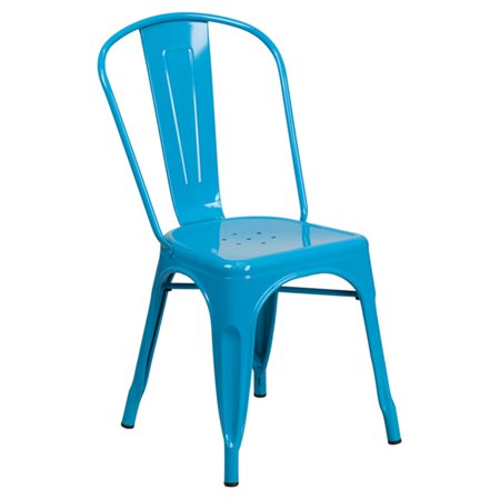 Flash Furniture Crystal Metal Indoor-Outdoor Stackable Chair, Multiple Colors ()