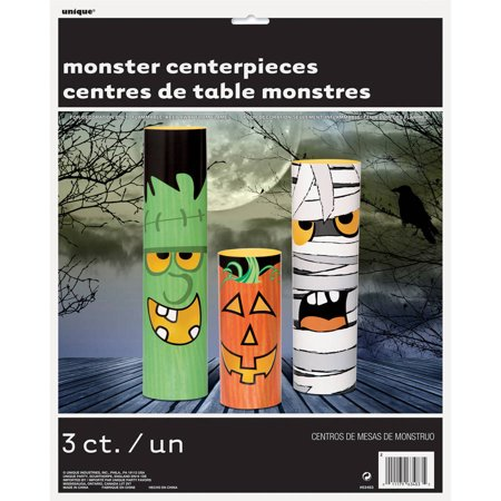 Halloween Monsters Centerpiece Decorations, Assorted 3-Count