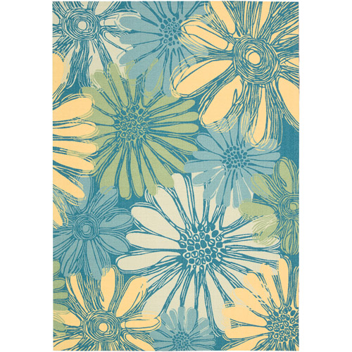 Nourison Home and Garden Polyester Rug, Blue