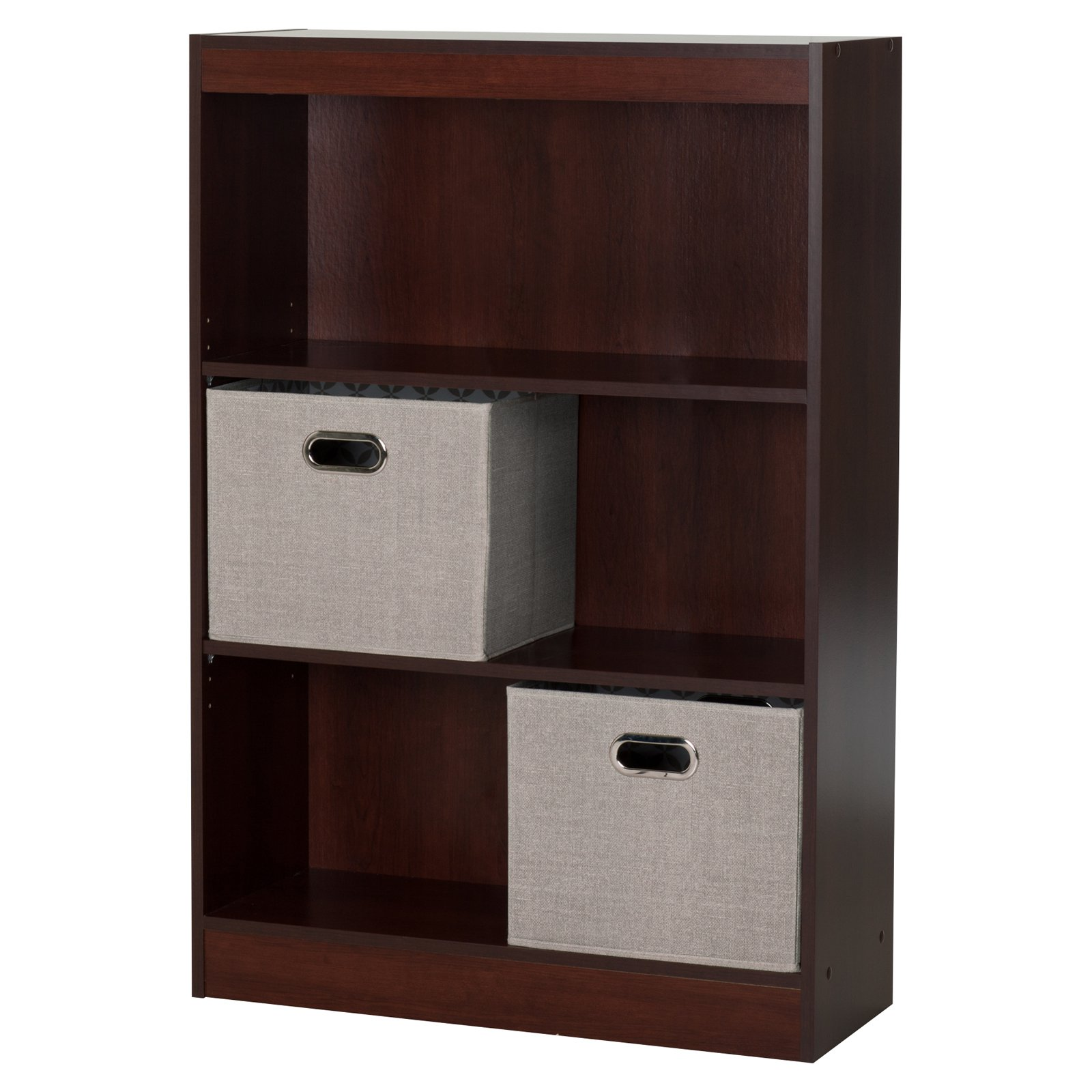 3 Shelf Bookcase with 2 Fabric Storage Baskets by South Shore