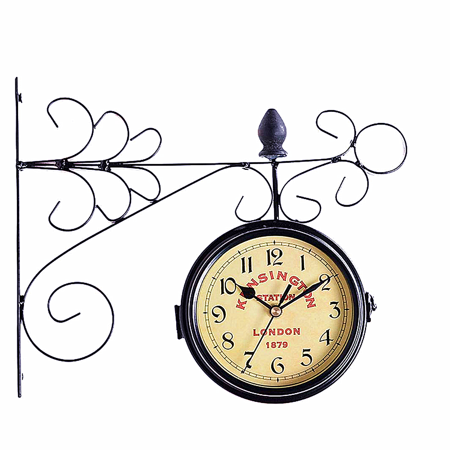 Mrosaa Double Sided Wall Mount Clock Garden Hallway Station Metal Vintage Retro Home Decor ()