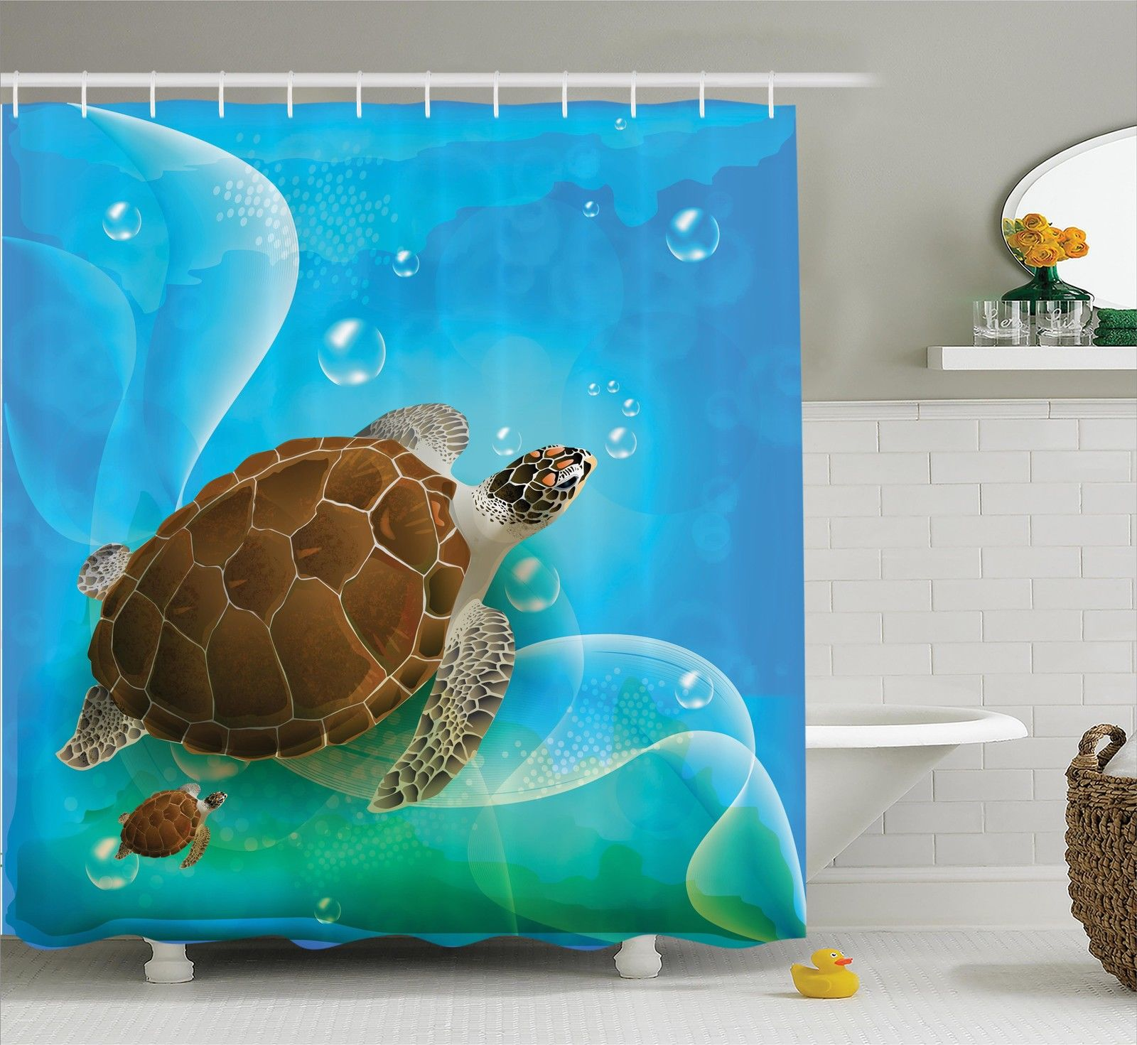 Ocean Decor Shower Curtain Set, Turtle Family Swimming In The Ocean Bubbles  Underwater World Cartoon