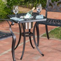 Christopher Knight Home Ava Outdoor Cast Aluminum Square Bistro Table with Ice Bucket by