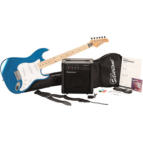Silvertone SS10 Citation Candy Blue Electric Guitar Package, with Guitar Amp, Cable, Carrying Bag, Tuner and more