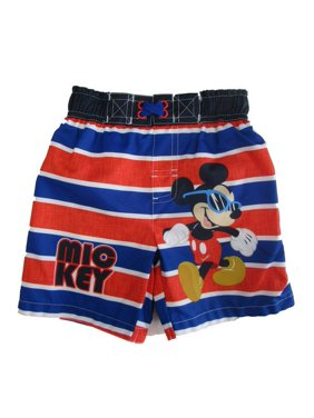 ff6deae5333f1 Product Image Disney Little Boys Royal Blue Mickey Mouse Swim Shorts