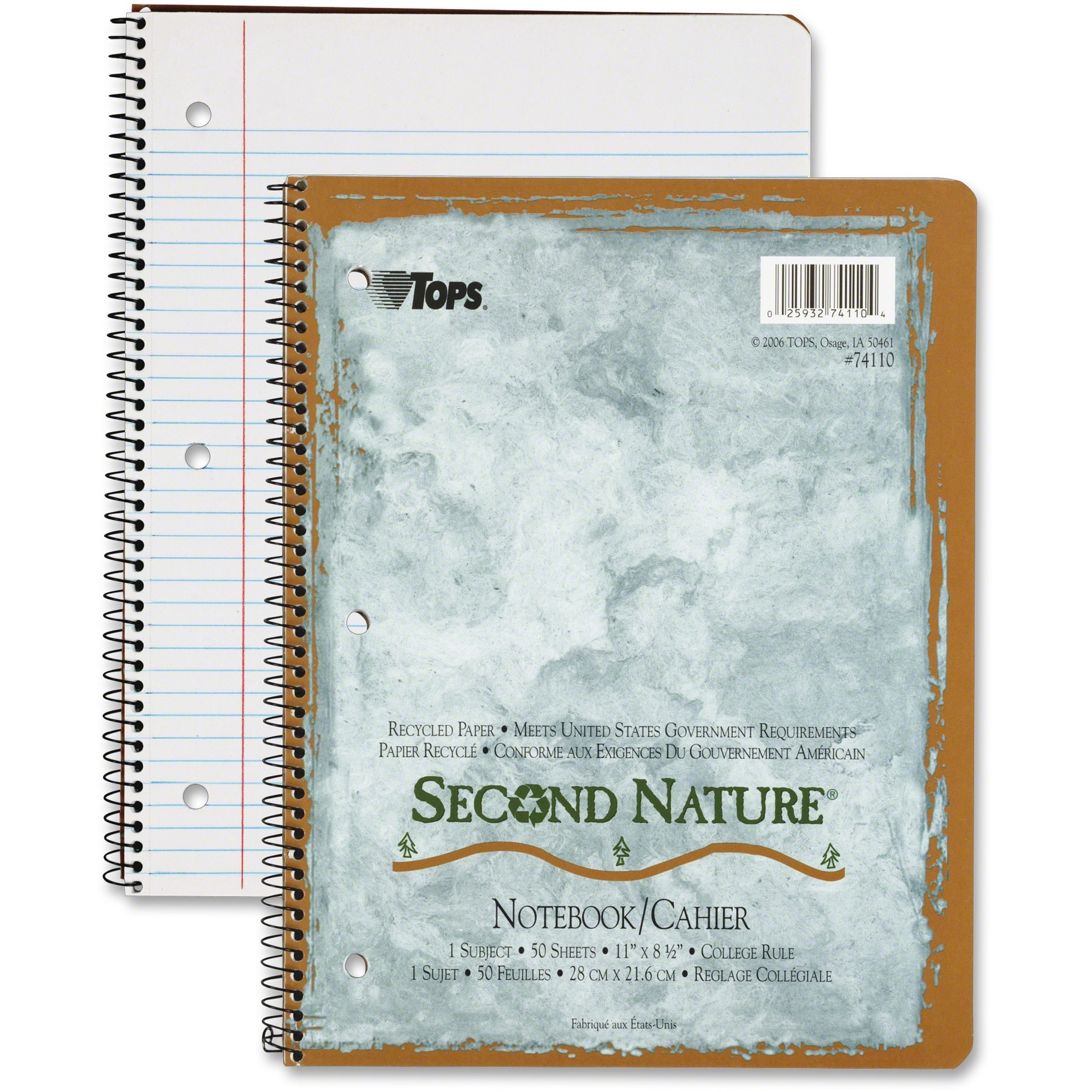 TOPS, TOP74110, College - ruled Second Nature Notebook - Letter, 1 Each