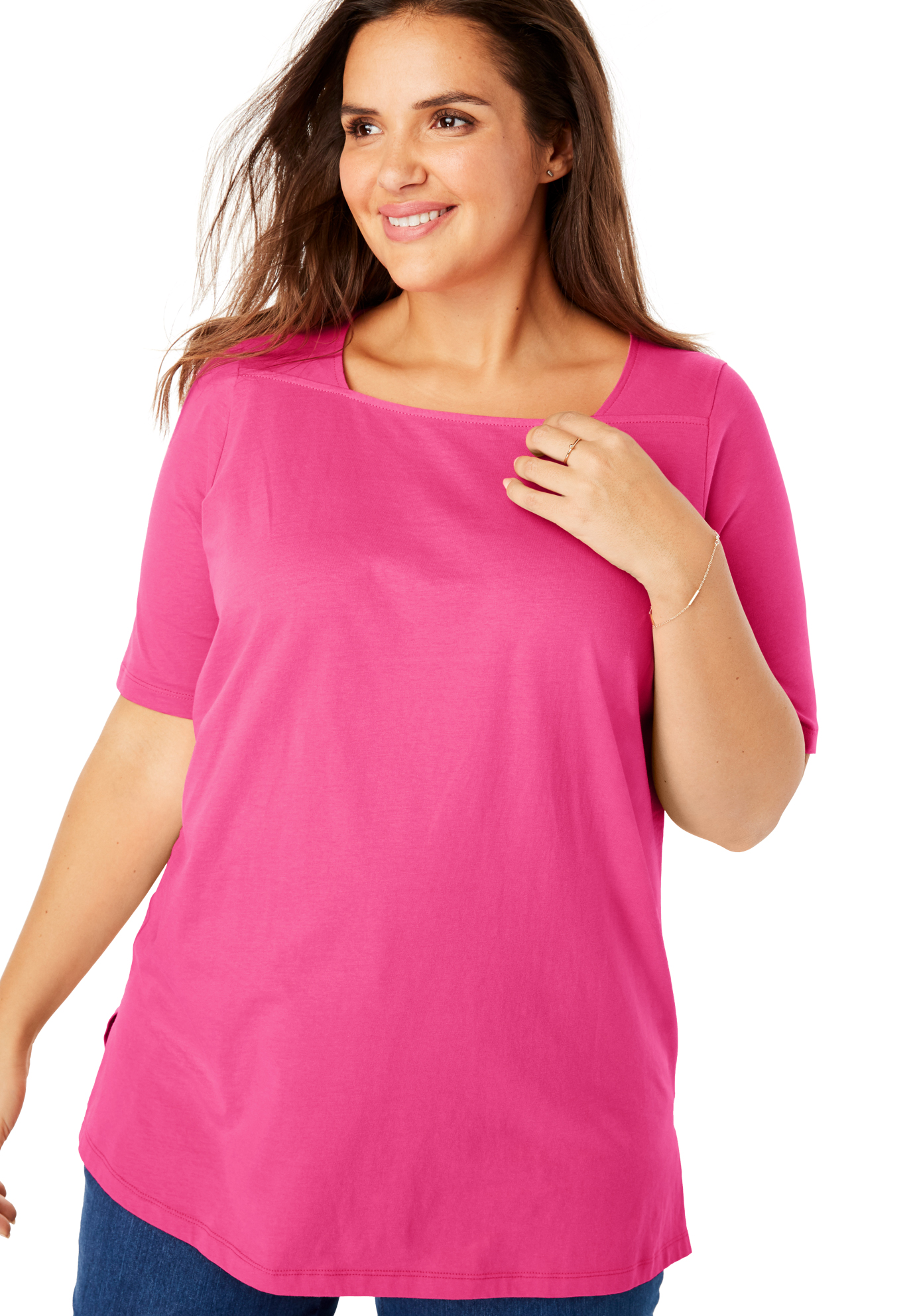 Woman Within Womens Plus Size Perfect Square Neck Tee