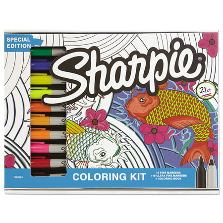 sharpie adult coloring kit aquatic theme coloring book with 20 markers