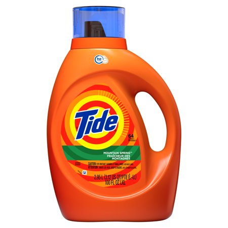 Tide Mountain Spring HE, Liquid Laundry Detergent, 100 Fl Oz 64 loads